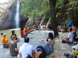 meditation near the waterfall